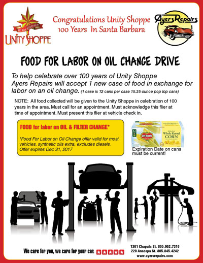 Unity Shoppe Over 100 Years In Santa Barbara Food for Labor on Oil Change Drive